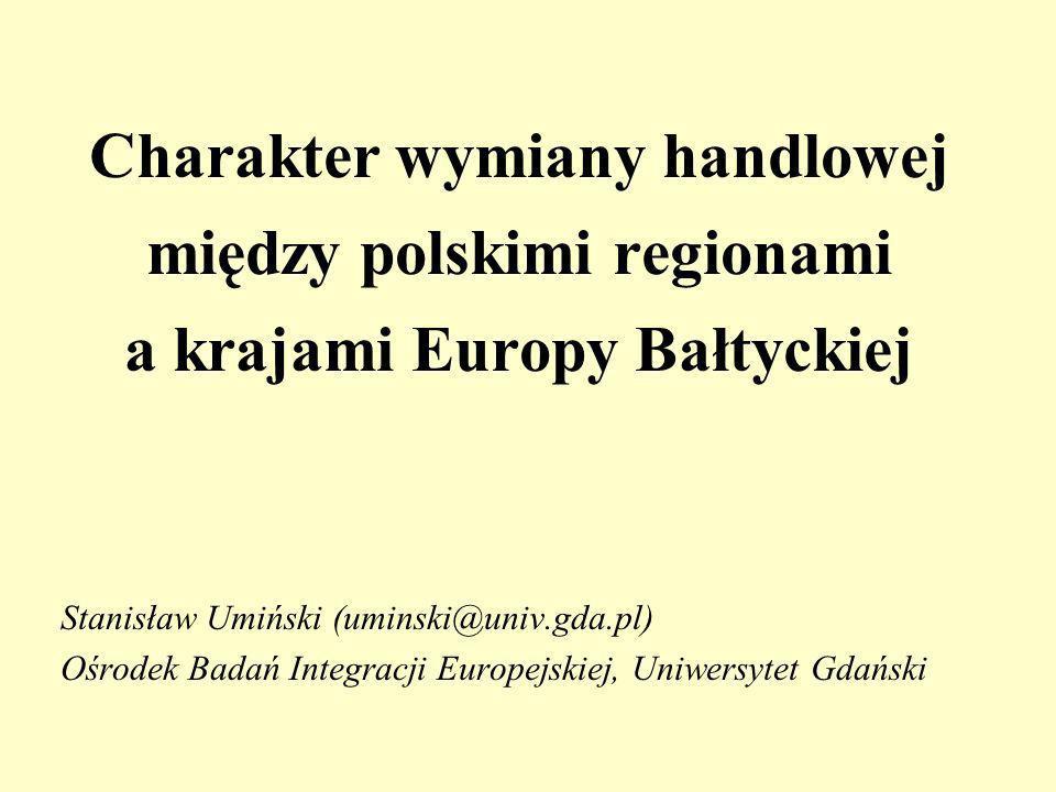 Charakter wymiany handlowej między polskimi regionami a krajami Europy Bałtyckiej Stanisław Umiński (uminski@univ.gda.pl) Ośrodek Badań Integracji Europejskiej, Uniwersytet Gdański