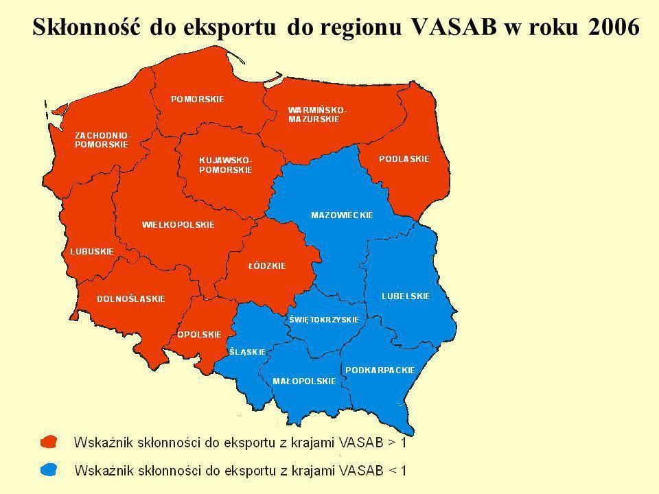 Skłonność do eksportu do regionu VASAB w roku 2006