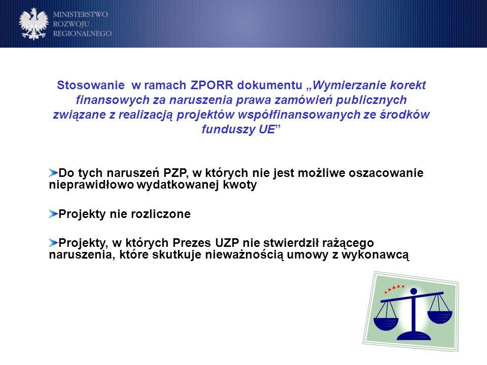 Program Operacyjny Rozwój Polski Wschodniej Cele Stosowanie w ramach ZPORR dokumentu Wymierzanie korekt finansowych za naruszenia prawa zamówień publicznych związane z realizacją projektów współfinansowanych ze środków funduszy UE Do tych naruszeń PZP, w których nie jest możliwe oszacowanie nieprawidłowo wydatkowanej kwoty Projekty nie rozliczone Projekty, w których Prezes UZP nie stwierdził rażącego naruszenia, które skutkuje nieważnością umowy z wykonawcą
