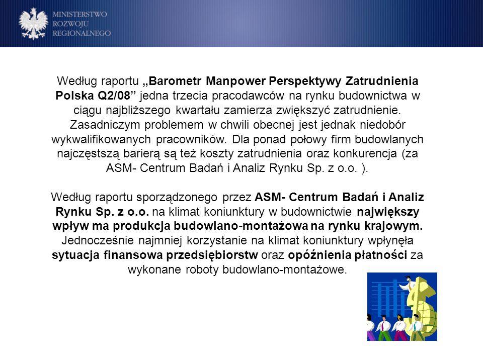 Program Operacyjny Rozwój Polski Wschodniej Cele Według raportu Barometr Manpower Perspektywy Zatrudnienia Polska Q2/08 jedna trzecia pracodawców na rynku budownictwa w ciągu najbliższego kwartału zamierza zwiększyć zatrudnienie.