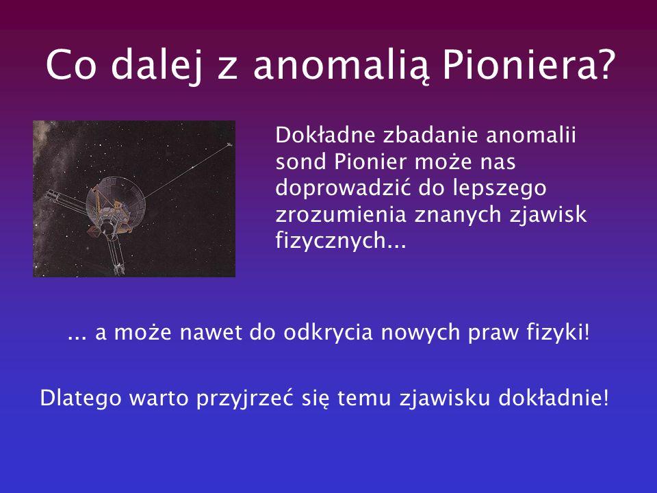 Co dalej z anomalią Pioniera? Dokładne zbadanie anomalii sond Pionier może nas doprowadzić do lepszego zrozumienia znanych zjawisk fizycznych...... a