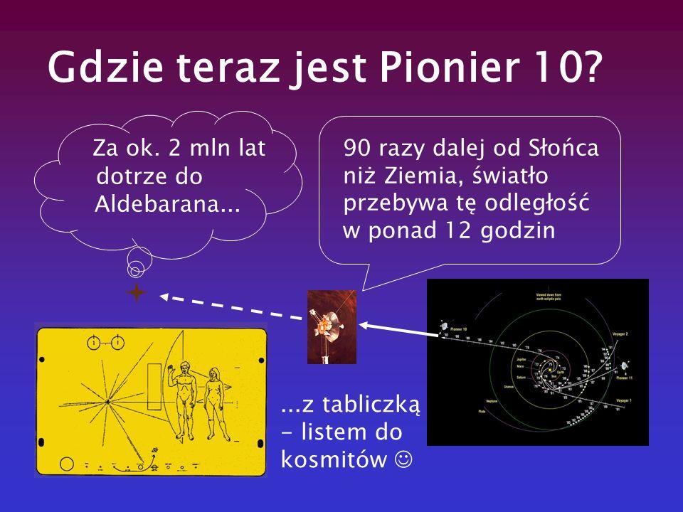 Gdzie teraz jest Pionier 10? 90 razy dalej od Słońca niż Ziemia, światło przebywa tę odległość w ponad 12 godzin Za ok. 2 mln lat dotrze do Aldebarana