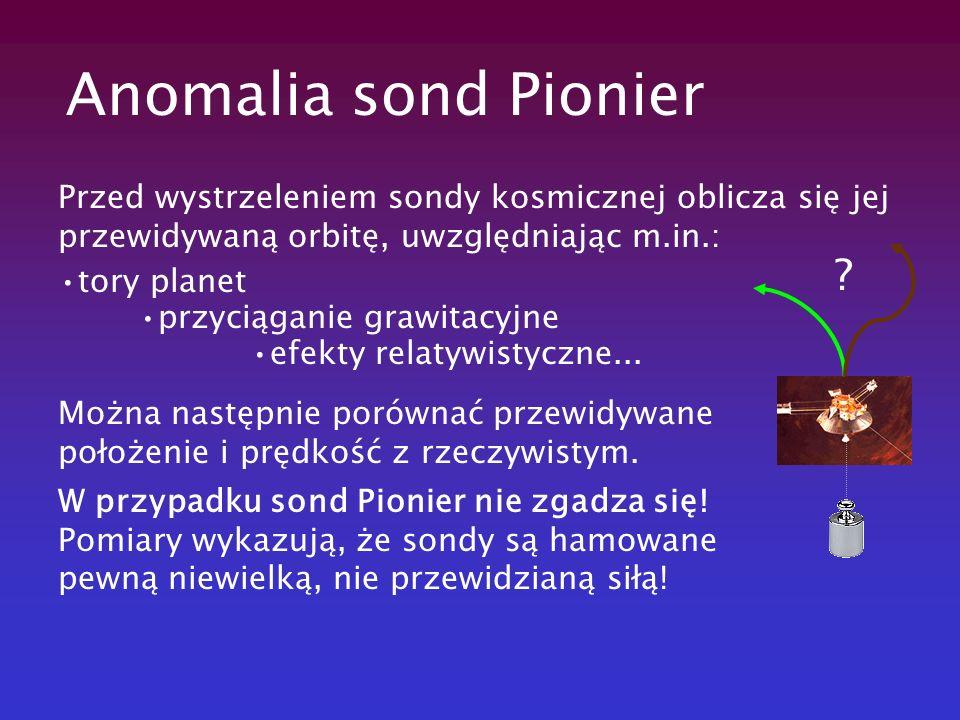 Anomalia sond Pionier Przed wystrzeleniem sondy kosmicznej oblicza się jej przewidywaną orbitę, uwzględniając m.in.: tory planet przyciąganie grawitac