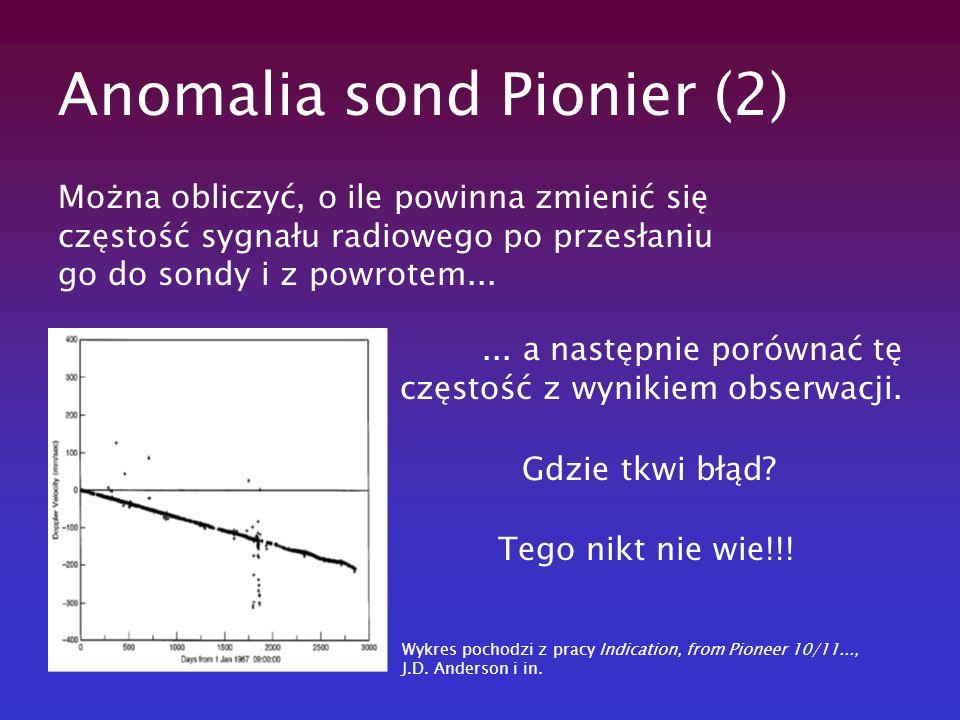 Anomalia sond Pionier (2) Można obliczyć, o ile powinna zmienić się częstość sygnału radiowego po przesłaniu go do sondy i z powrotem...... a następni