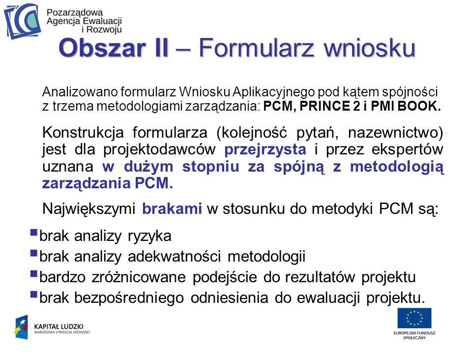 Obszar II – Formularz wniosku Analizowano formularz Wniosku Aplikacyjnego pod kątem spójności z trzema metodologiami zarządzania: PCM, PRINCE 2 i PMI BOOK.
