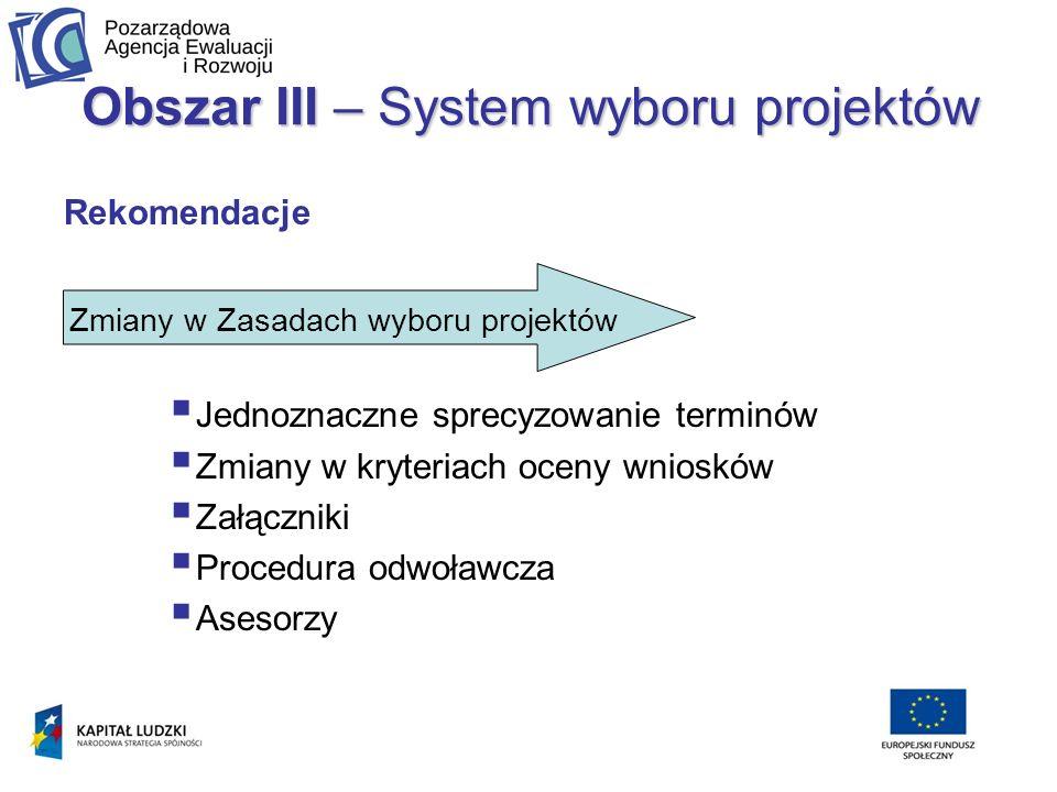 Obszar III – System wyboru projektów Rekomendacje Jednoznaczne sprecyzowanie terminów Zmiany w kryteriach oceny wniosków Załączniki Procedura odwoławcza Asesorzy Zmiany w Zasadach wyboru projektów
