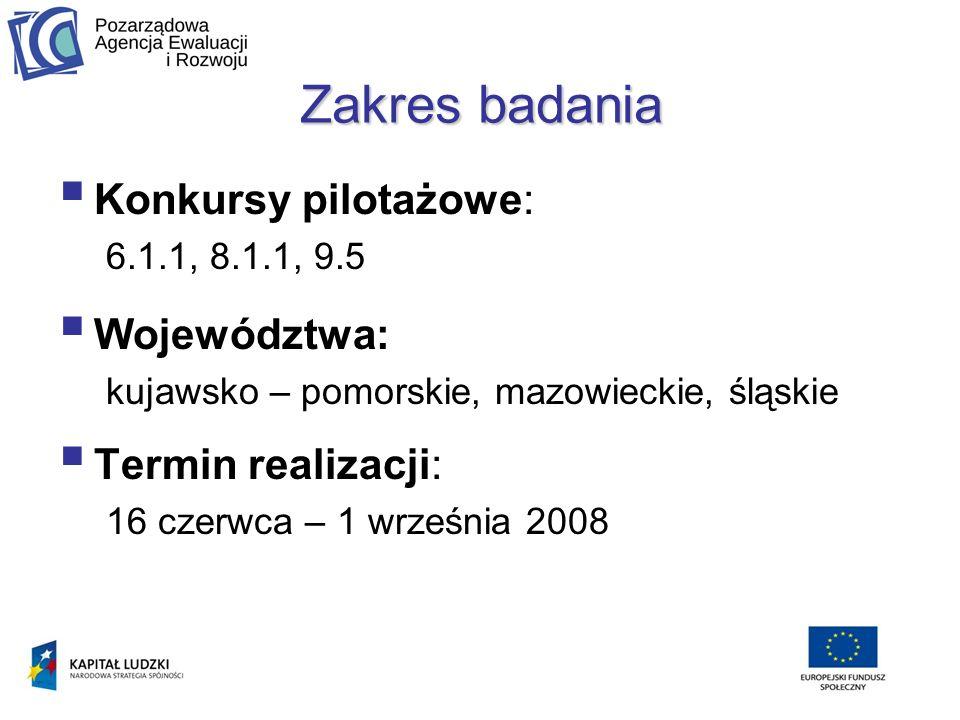 Zakres badania Konkursy pilotażowe: 6.1.1, 8.1.1, 9.5 Województwa: kujawsko – pomorskie, mazowieckie, śląskie Termin realizacji: 16 czerwca – 1 września 2008