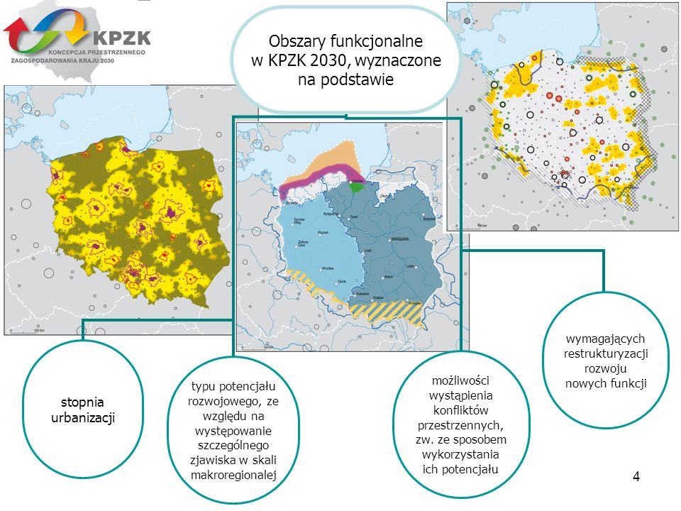 4 Obszary funkcjonalne w KPZK 2030, wyznaczone na podstawie stopnia urbanizacji możliwości wystąpienia konfliktów przestrzennych, zw. ze sposobem wyko