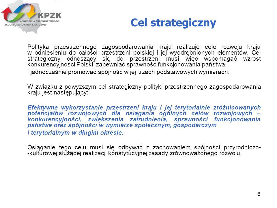 6 Cel strategiczny Polityka przestrzennego zagospodarowania kraju realizuje cele rozwoju kraju w odniesieniu do całości przestrzeni polskiej i jej wyo