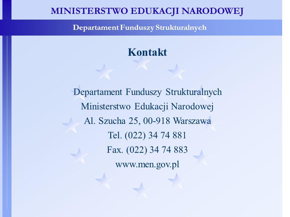 MINISTERSTWO EDUKACJI NARODOWEJ Departament Funduszy Strukturalnych Kontakt Departament Funduszy Strukturalnych Ministerstwo Edukacji Narodowej Al.