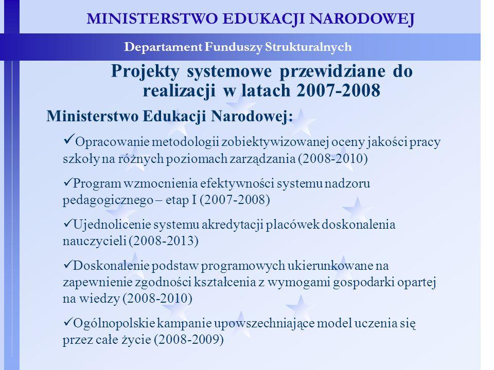 MINISTERSTWO EDUKACJI NARODOWEJ Departament Funduszy Strukturalnych Projekty systemowe przewidziane do realizacji w latach 2007-2008 Ministerstwo Edukacji Narodowej: Opracowanie metodologii zobiektywizowanej oceny jakości pracy szkoły na różnych poziomach zarządzania (2008-2010) Program wzmocnienia efektywności systemu nadzoru pedagogicznego – etap I (2007-2008) Ujednolicenie systemu akredytacji placówek doskonalenia nauczycieli (2008-2013) Doskonalenie podstaw programowych ukierunkowane na zapewnienie zgodności kształcenia z wymogami gospodarki opartej na wiedzy (2008-2010) Ogólnopolskie kampanie upowszechniające model uczenia się przez całe życie (2008-2009)