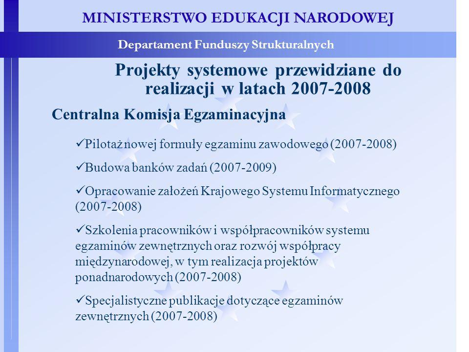 MINISTERSTWO EDUKACJI NARODOWEJ Departament Funduszy Strukturalnych Projekty systemowe przewidziane do realizacji w latach 2007-2008 Pilotaż nowej formuły egzaminu zawodowego (2007-2008) Budowa banków zadań (2007-2009) Opracowanie założeń Krajowego Systemu Informatycznego (2007-2008) Szkolenia pracowników i współpracowników systemu egzaminów zewnętrznych oraz rozwój współpracy międzynarodowej, w tym realizacja projektów ponadnarodowych (2007-2008) Specjalistyczne publikacje dotyczące egzaminów zewnętrznych (2007-2008) Centralna Komisja Egzaminacyjna