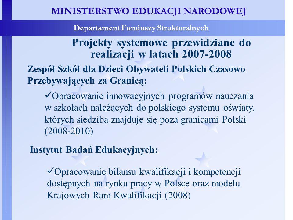 MINISTERSTWO EDUKACJI NARODOWEJ Departament Funduszy Strukturalnych Projekty systemowe przewidziane do realizacji w latach 2007-2008 Fundacja Rozwoju Systemu Edukacji: Tworzenie zaplecza badawczego i informacyjnego systemu edukacji w zakresie monitoringu, ewaluacji i badań edukacyjnych (2008 i 2009) Kuratoria oświaty: Programy wzmocnienia efektywności systemu nadzoru pedagogicznego – etap II (2008-2009)