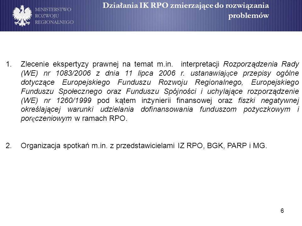 6 Działania IK RPO zmierzające do rozwiązania problemów 1.Zlecenie ekspertyzy prawnej na temat m.in.