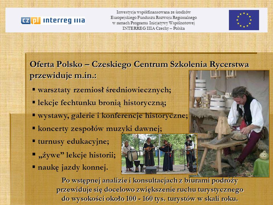 Oferta Polsko – Czeskiego Centrum Szkolenia Rycerstwa przewiduje m.in.: Inwestycja współfinansowana ze środków Europejskiego Funduszu Rozwoju Regional
