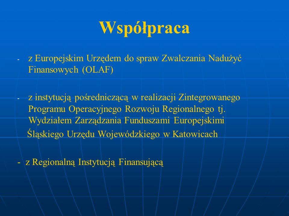 Współpraca - - z Europejskim Urzędem do spraw Zwalczania Nadużyć Finansowych (OLAF) - - z instytucją pośredniczącą w realizacji Zintegrowanego Program
