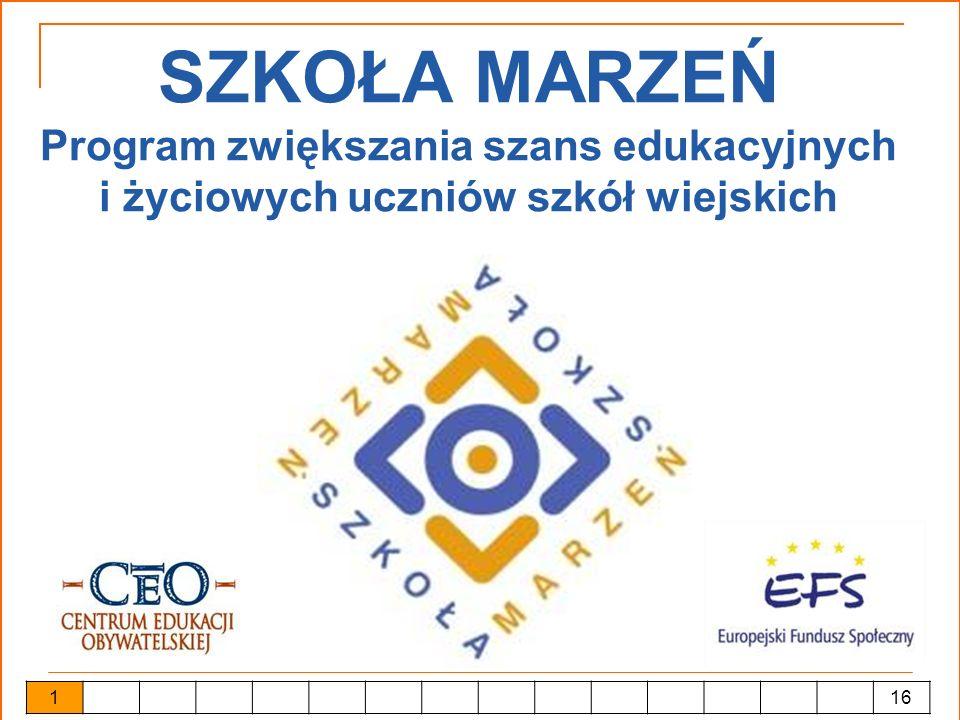 Szkoła Marzeń Realizacja: fundacja Centrum Edukacji Obywatelskiej 32 partnerów ogólnopolskich i regionalnych budżet projektu: 43 500 000 zł czas trwania: 06.2005 – 01.2007 2 16