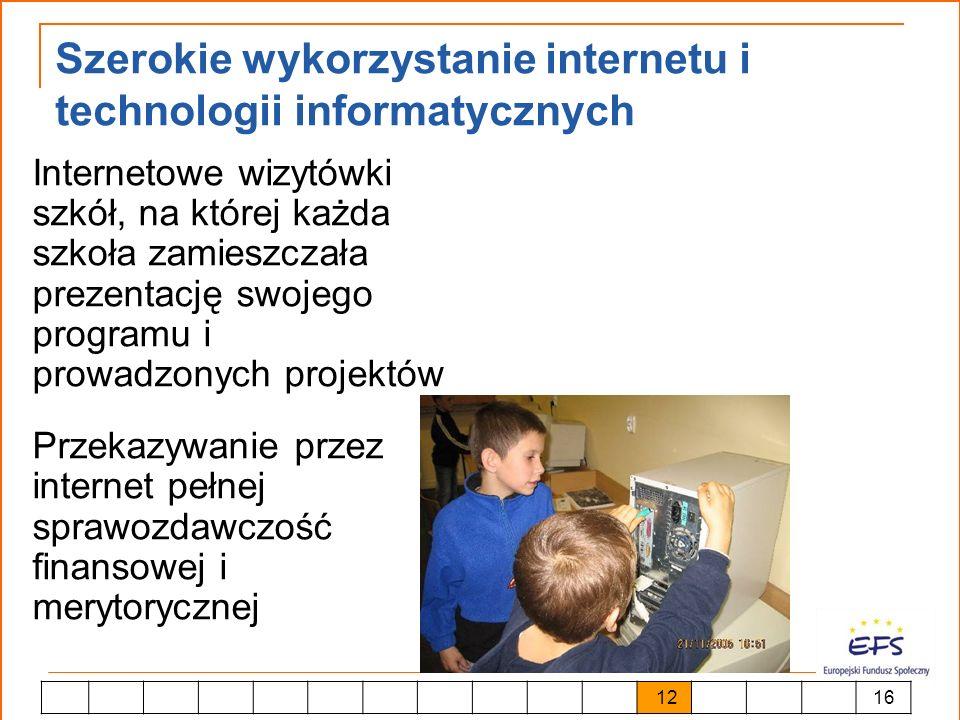 Szerokie wykorzystanie internetu i technologii informatycznych Internetowe wizytówki szkół, na której każda szkoła zamieszczała prezentację swojego pr