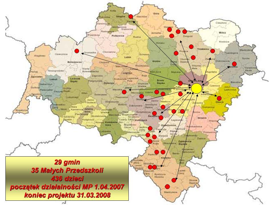 29 gmin 35 Małych Przedszkoli 436 dzieci początek działalności MP 1.04.2007 koniec projektu 31.03.2008