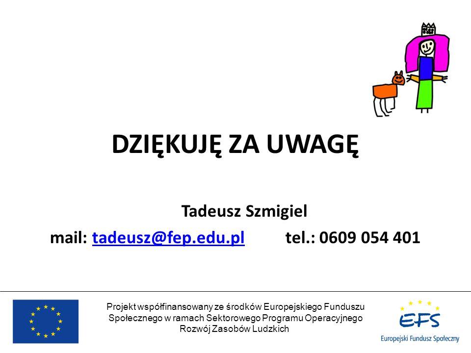 Projekt współfinansowany ze środków Europejskiego Funduszu Społecznego w ramach Sektorowego Programu Operacyjnego Rozwój Zasobów Ludzkich DZIĘKUJĘ ZA