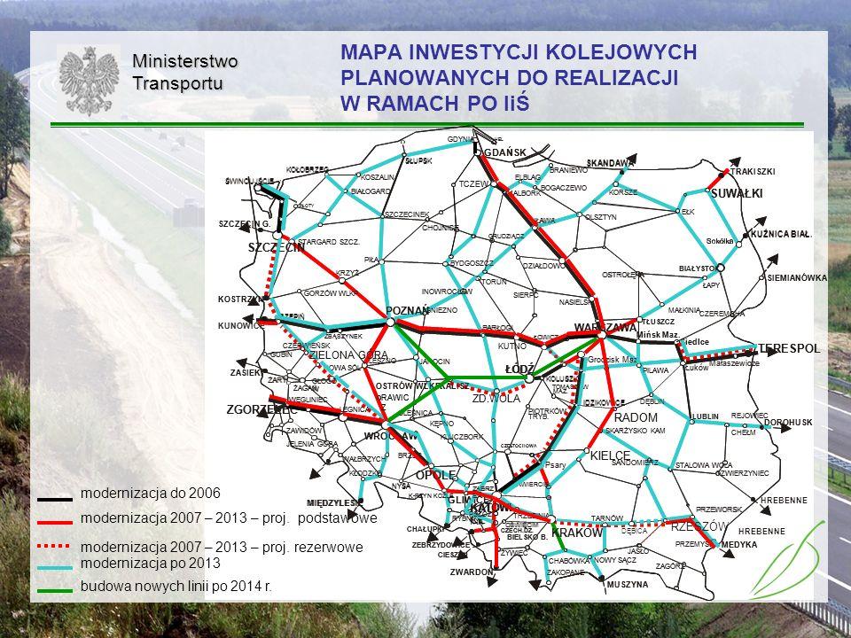 30MinisterstwoTransportu MAPA INWESTYCJI KOLEJOWYCH PLANOWANYCH DO REALIZACJI W RAMACH PO IiŚ modernizacja do 2006 modernizacja 2007 – 2013 – proj. po