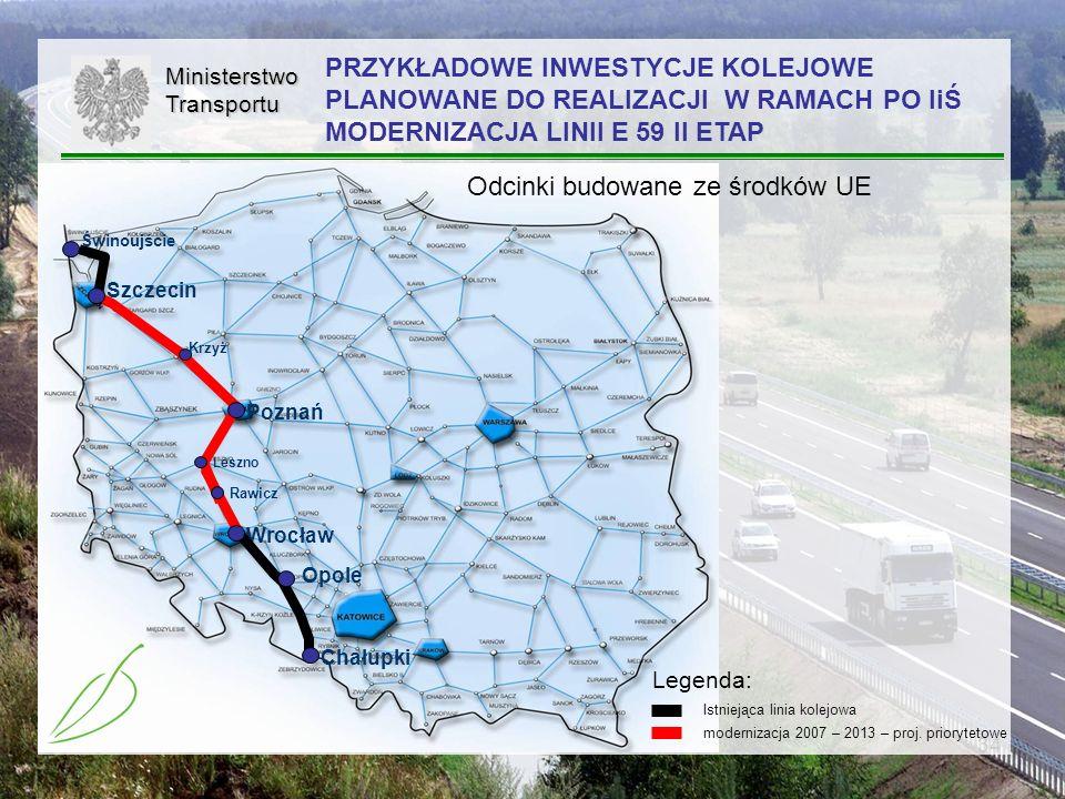 34MinisterstwoTransportu modernizacja 2007 – 2013 – proj. priorytetowe Istniejąca linia kolejowa Legenda: PRZYKŁADOWE INWESTYCJE KOLEJOWE PLANOWANE DO