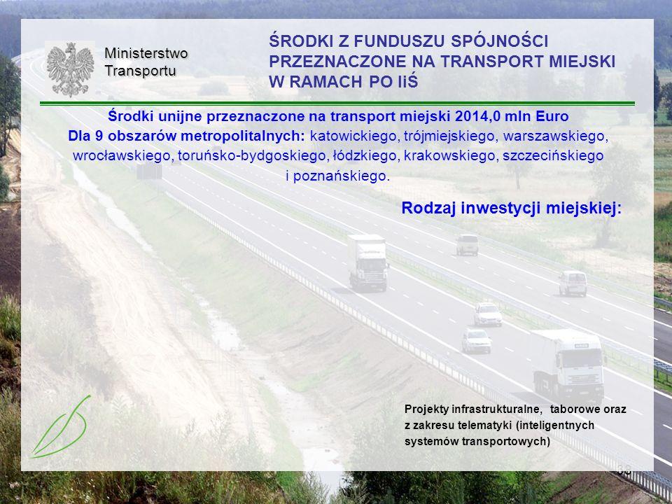 38MinisterstwoTransportu ŚRODKI Z FUNDUSZU SPÓJNOŚCI PRZEZNACZONE NA TRANSPORT MIEJSKI W RAMACH PO IiŚ Rodzaj inwestycji miejskiej: Projekty infrastru