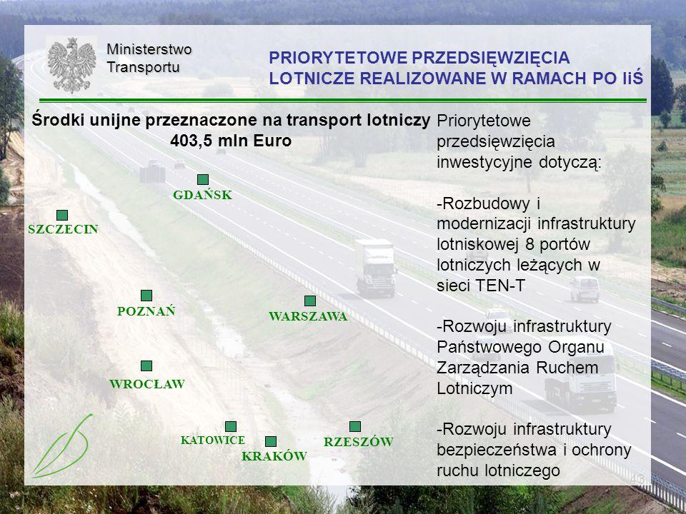 43MinisterstwoTransportu KRAKÓW WROCŁAW KATOWICE RZESZÓW WARSZAWA SZCZECIN POZNAŃ GDAŃSK Priorytetowe przedsięwzięcia inwestycyjne dotyczą: -Rozbudowy
