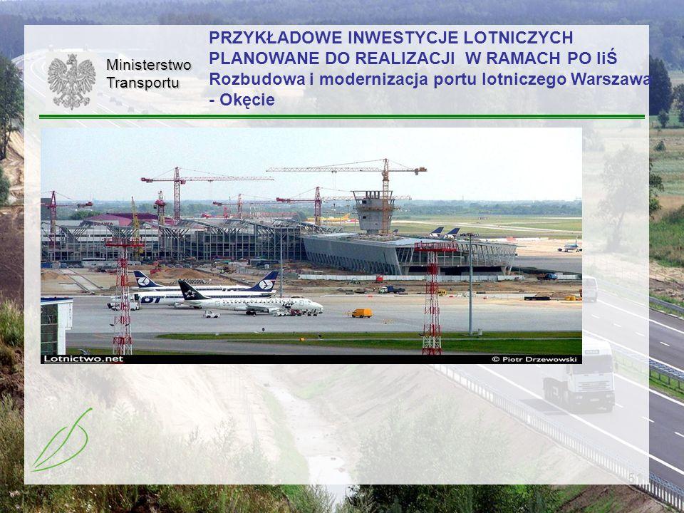 51MinisterstwoTransportu PRZYKŁADOWE INWESTYCJE LOTNICZYCH PLANOWANE DO REALIZACJI W RAMACH PO IiŚ Rozbudowa i modernizacja portu lotniczego Warszawa