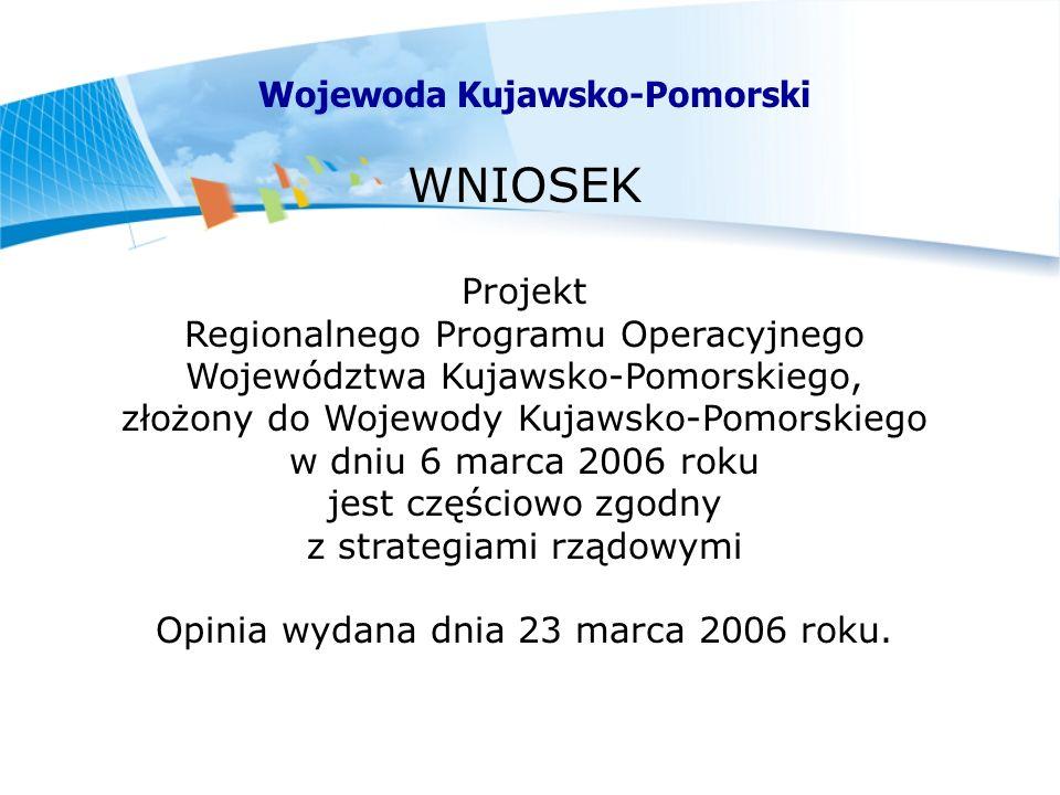 WNIOSEK Projekt Regionalnego Programu Operacyjnego Województwa Kujawsko-Pomorskiego, złożony do Wojewody Kujawsko-Pomorskiego w dniu 6 marca 2006 roku jest częściowo zgodny z strategiami rządowymi Opinia wydana dnia 23 marca 2006 roku.