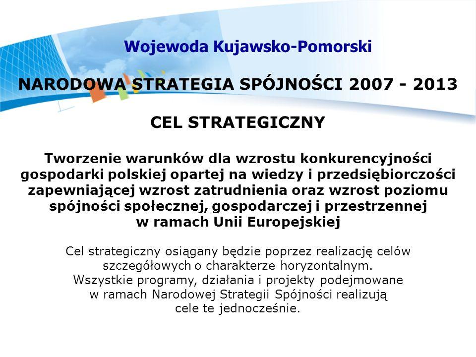 NARODOWA STRATEGIA SPÓJNOŚCI 2007 - 2013 CEL STRATEGICZNY Tworzenie warunków dla wzrostu konkurencyjności gospodarki polskiej opartej na wiedzy i przedsiębiorczości zapewniającej wzrost zatrudnienia oraz wzrost poziomu spójności społecznej, gospodarczej i przestrzennej w ramach Unii Europejskiej Cel strategiczny osiągany będzie poprzez realizację celów szczegółowych o charakterze horyzontalnym.