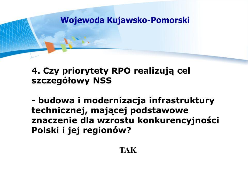4. Czy priorytety RPO realizują cel szczegółowy NSS - budowa i modernizacja infrastruktury technicznej, mającej podstawowe znaczenie dla wzrostu konku