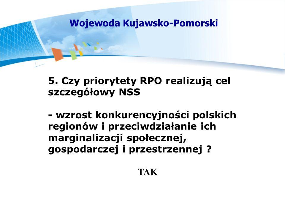 5. Czy priorytety RPO realizują cel szczegółowy NSS - wzrost konkurencyjności polskich regionów i przeciwdziałanie ich marginalizacji społecznej, gosp
