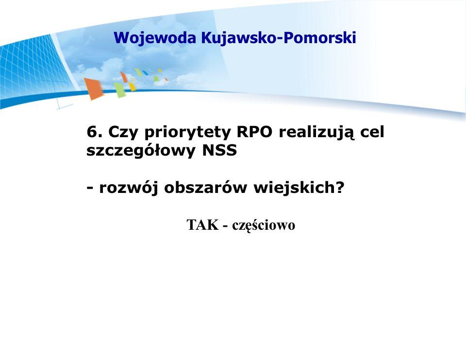 6. Czy priorytety RPO realizują cel szczegółowy NSS - rozwój obszarów wiejskich.