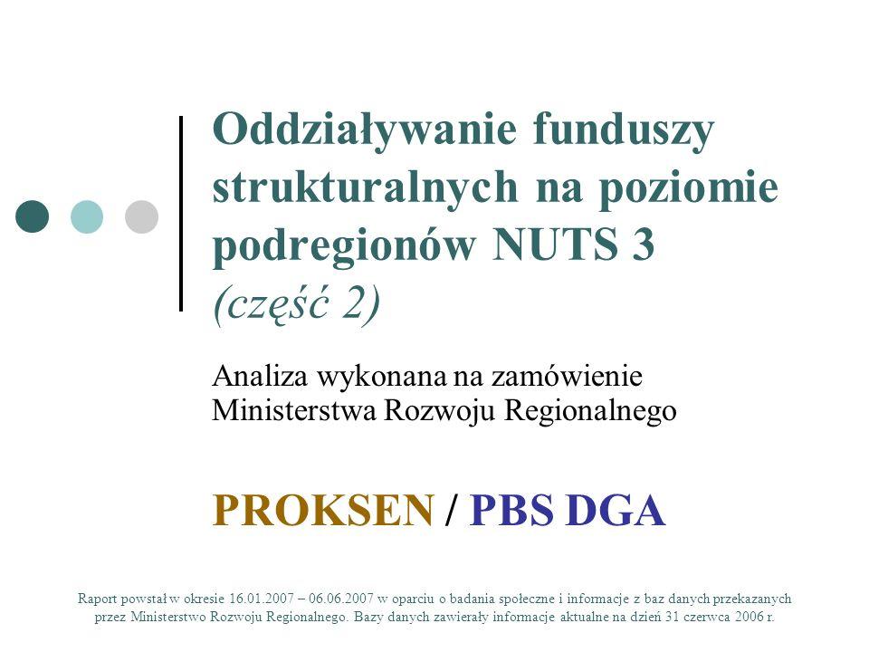 PROKSEN - PBS DGAKonferencja: Oddziaływanie funduszy strukturalnych na poziomie podregionów NUTS 3 lipiec 2007 42 WPŁYW FUNDUSZY UNIJNYCH NA ZMNIEJSZANIA ISTNIEJĄCYCH ZRÓŻNICOWAŃ ROZWOJOWYCH WEWNĄTRZ PODREGIONÓW ORAZ POMIĘDZY PODREGIONAMI WYPOSAŻENIE GMIN W INFRASTRUKTURĘ KULTUROWĄ A PRZESTRZENNA ALOKACJA ŚRODKÓW Wyposażenie gmin w infrastrukturę kulturową: duże różnice w obrębie każdego podregionu Miejsce realizacji projektów: gminy, w których nasycenie infrastrukturą kulturową było niewystarczające (brak obiektów, lub wysoka liczba ludności przypadających na jedną placówkę kulturalną).