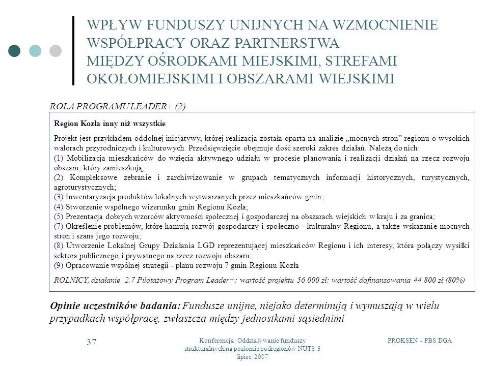 PROKSEN - PBS DGAKonferencja: Oddziaływanie funduszy strukturalnych na poziomie podregionów NUTS 3 lipiec 2007 37 Region Kozła inny niż wszystkie Proj