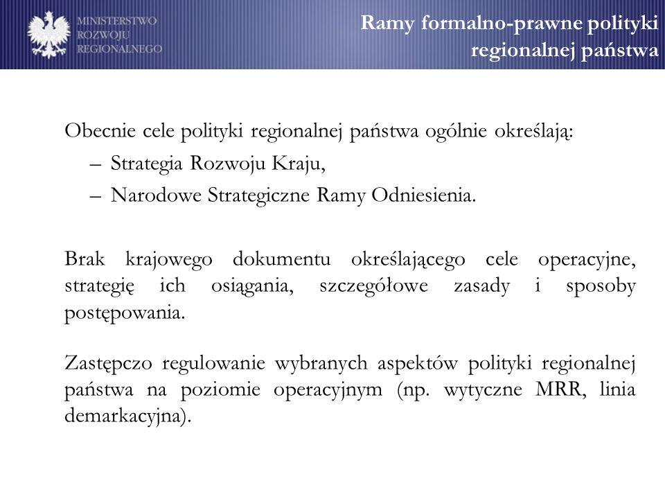 Ramy formalno-prawne polityki regionalnej państwa Obecnie cele polityki regionalnej państwa ogólnie określają: –Strategia Rozwoju Kraju, –Narodowe Strategiczne Ramy Odniesienia.