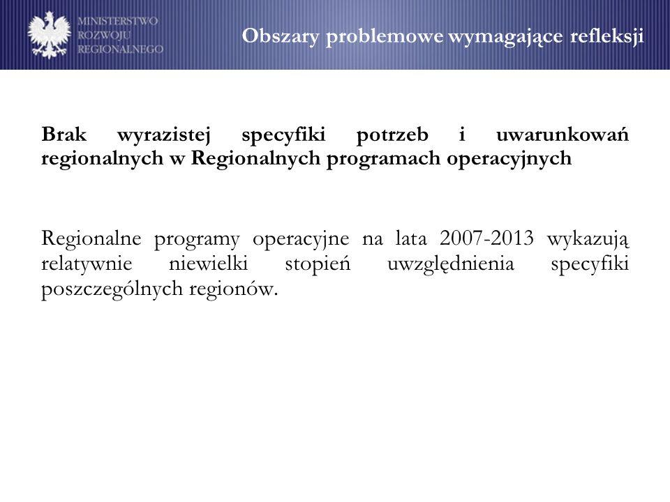 Obszary problemowe wymagające refleksji Brak wyrazistej specyfiki potrzeb i uwarunkowań regionalnych w Regionalnych programach operacyjnych Regionalne programy operacyjne na lata 2007-2013 wykazują relatywnie niewielki stopień uwzględnienia specyfiki poszczególnych regionów.