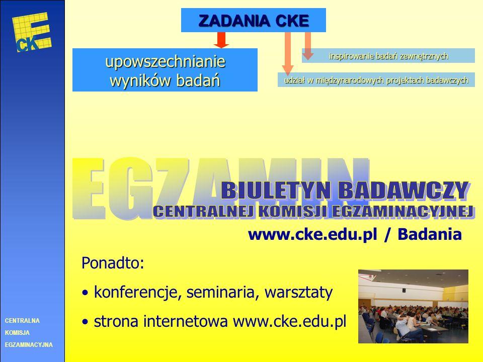 CENTRALNA KOMISJA EGZAMINACYJNA ZADANIA CKE prowadzenie i zlecanie badań inspirowanie badań zewnętrznych 2005 Przygotowanie kandydatów na przewodniczą