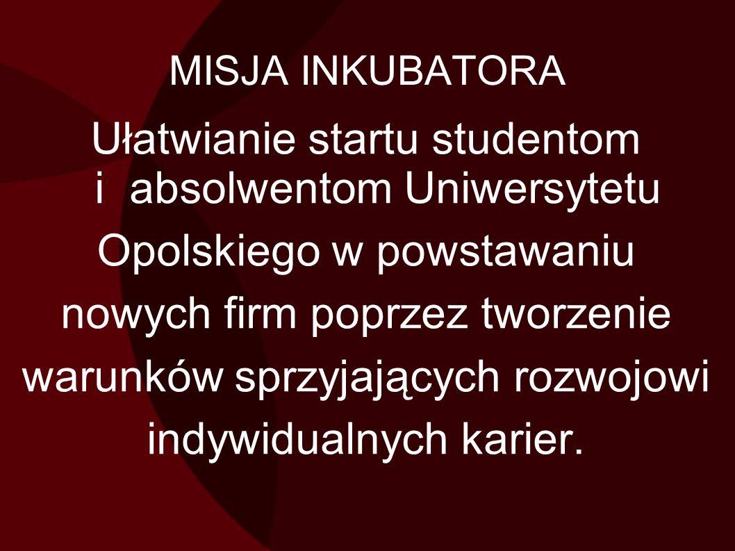 MISJA INKUBATORA Ułatwianie startu studentom i absolwentom Uniwersytetu Opolskiego w powstawaniu nowych firm poprzez tworzenie warunków sprzyjających rozwojowi indywidualnych karier.