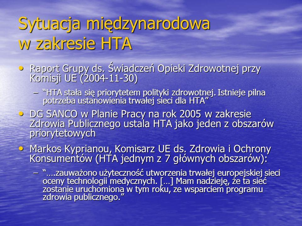 Sytuacja międzynarodowa w zakresie HTA Raport Grupy ds. Świadczeń Opieki Zdrowotnej przy Komisji UE (2004-11-30) Raport Grupy ds. Świadczeń Opieki Zdr
