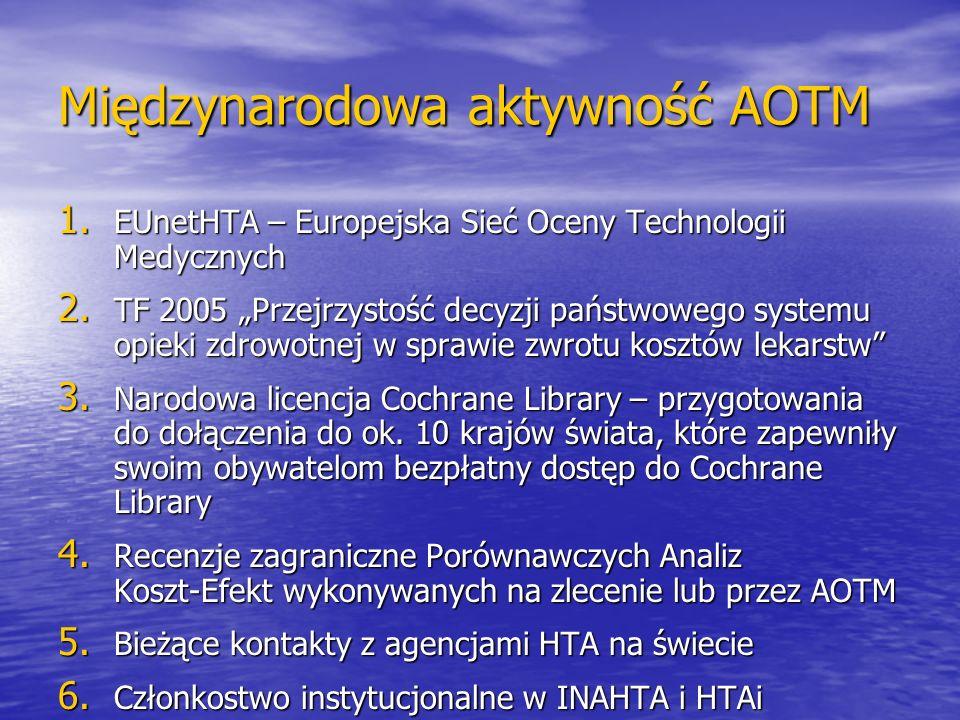 Międzynarodowa aktywność AOTM 1. EUnetHTA – Europejska Sieć Oceny Technologii Medycznych 2. TF 2005 Przejrzystość decyzji państwowego systemu opieki z
