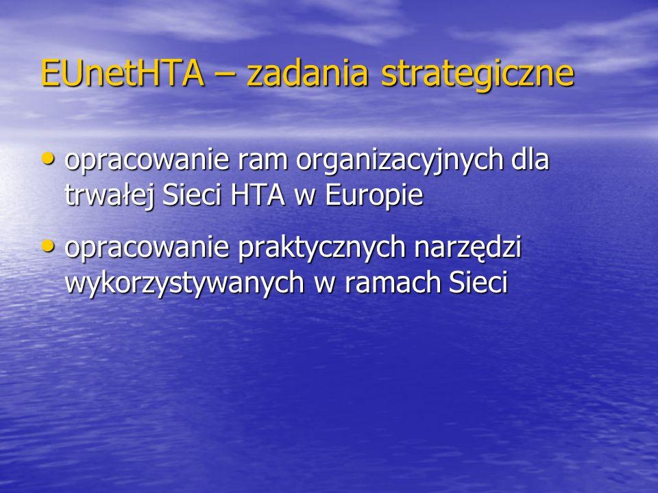 EUnetHTA – zadania strategiczne opracowanie ram organizacyjnych dla trwałej Sieci HTA w Europie opracowanie ram organizacyjnych dla trwałej Sieci HTA