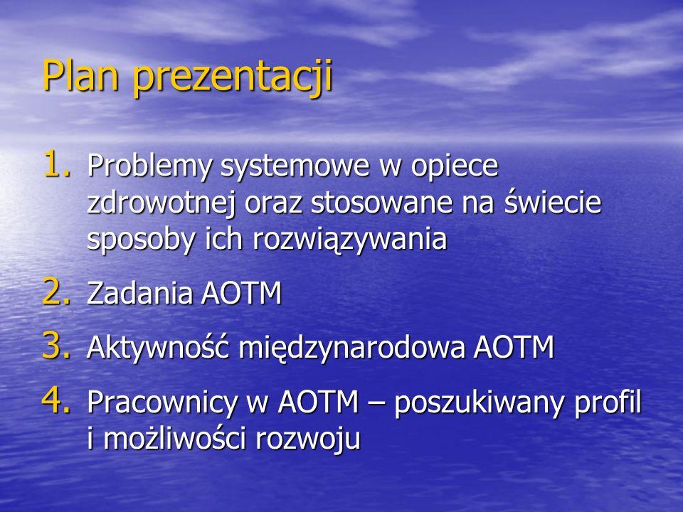 Plan prezentacji 1. Problemy systemowe w opiece zdrowotnej oraz stosowane na świecie sposoby ich rozwiązywania 2. Zadania AOTM 3. Aktywność międzynaro