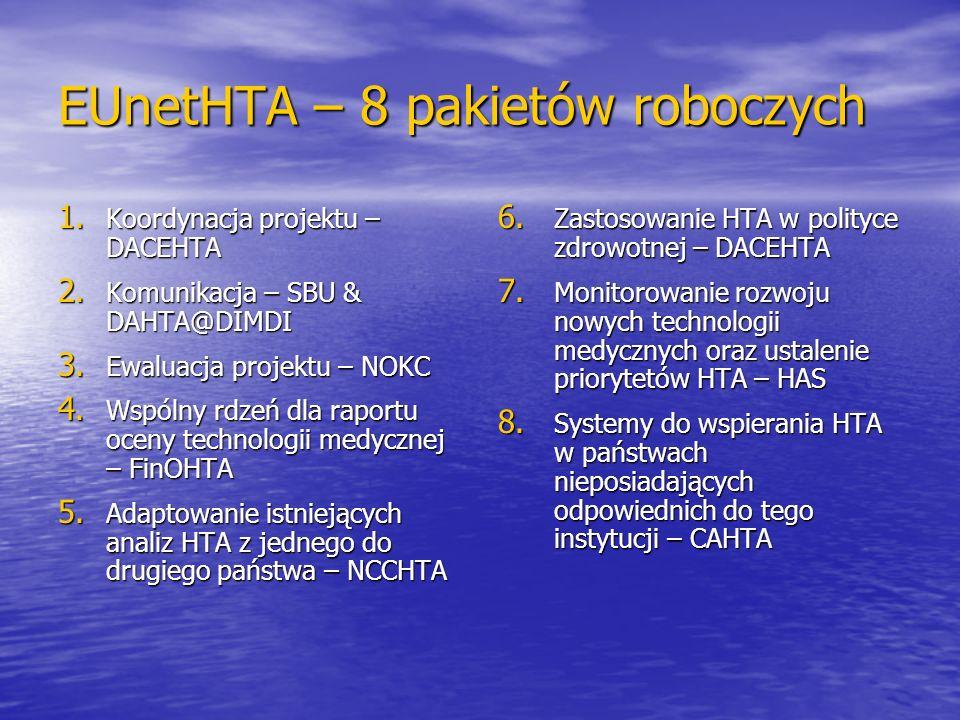 EUnetHTA – 8 pakietów roboczych 1. Koordynacja projektu – DACEHTA 2. Komunikacja – SBU & DAHTA@DIMDI 3. Ewaluacja projektu – NOKC 4. Wspólny rdzeń dla
