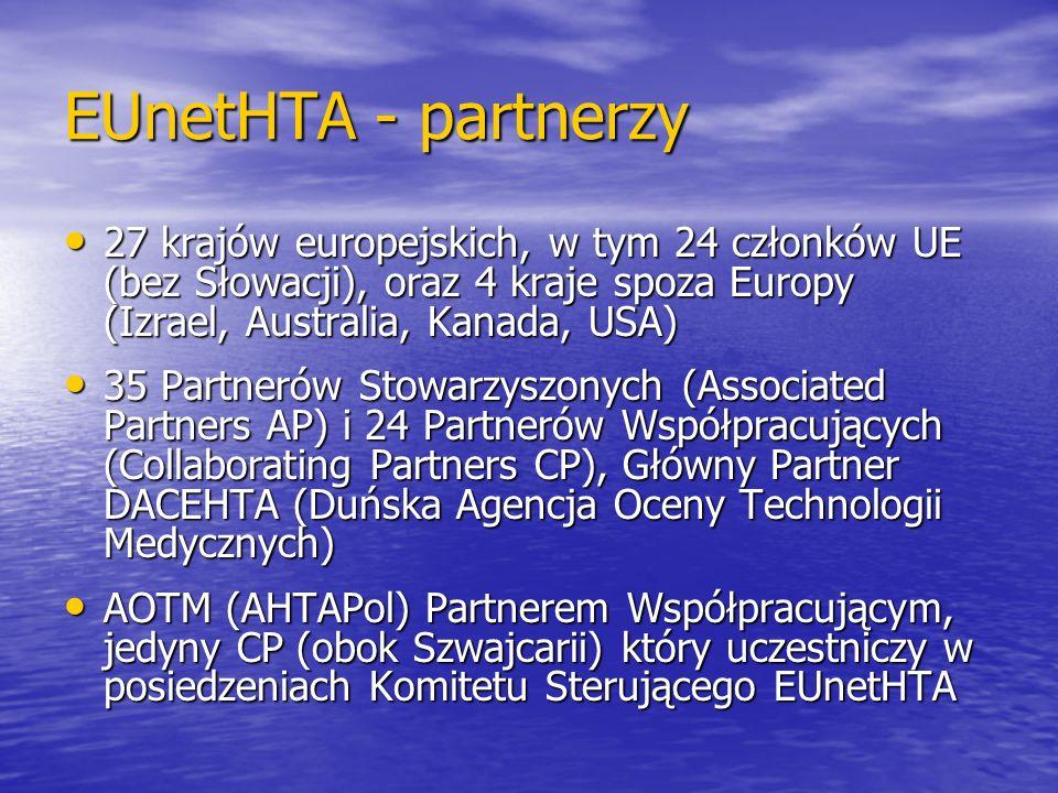 EUnetHTA - partnerzy 27 krajów europejskich, w tym 24 członków UE (bez Słowacji), oraz 4 kraje spoza Europy (Izrael, Australia, Kanada, USA) 27 krajów