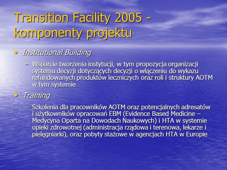 Transition Facility 2005 - komponenty projektu Institutional Building Institutional Building –Wsparcie tworzenia instytucji, w tym propozycja organiza