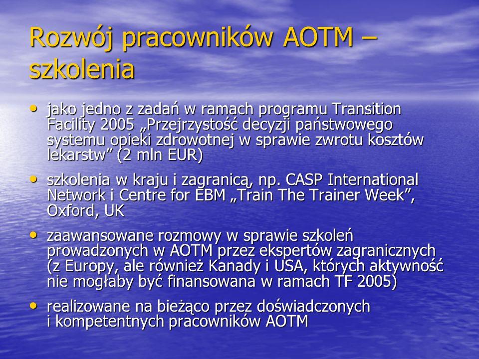 Rozwój pracowników AOTM – szkolenia jako jedno z zadań w ramach programu Transition Facility 2005 Przejrzystość decyzji państwowego systemu opieki zdr