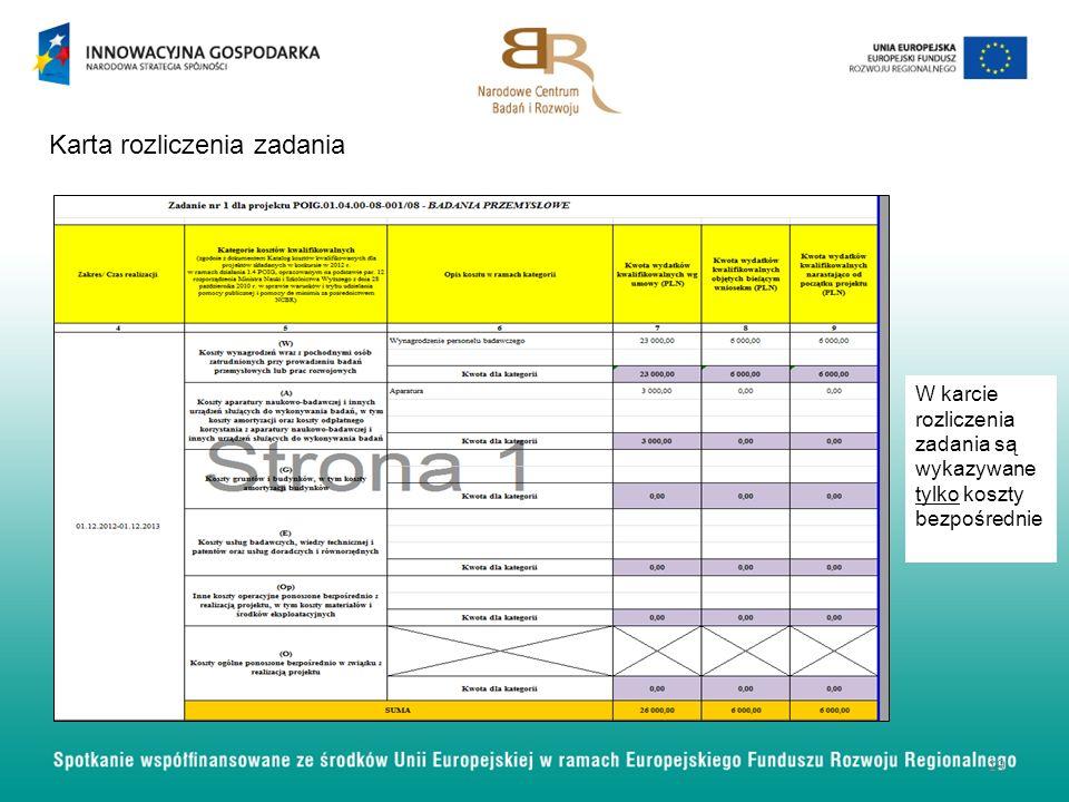 19 Karta rozliczenia zadania W karcie rozliczenia zadania są wykazywane tylko koszty bezpośrednie