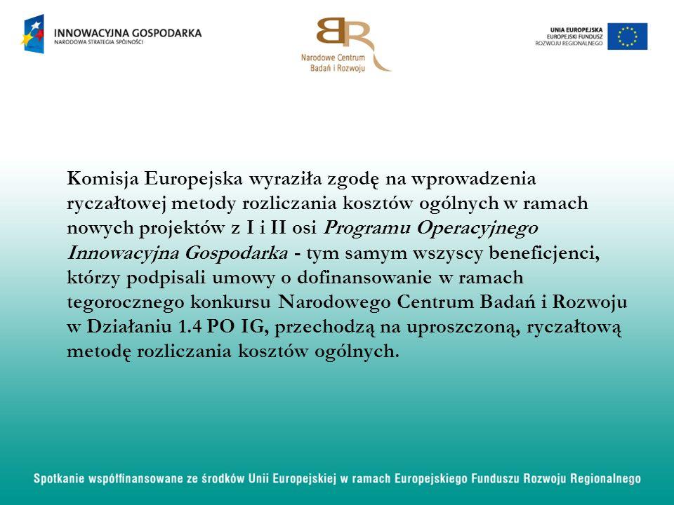 Komisja Europejska wyraziła zgodę na wprowadzenia ryczałtowej metody rozliczania kosztów ogólnych w ramach nowych projektów z I i II osi Programu Oper